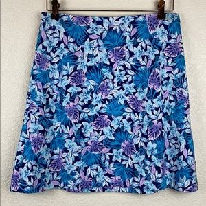 J Jill Skirt Floral Tropical Blue Purple Small